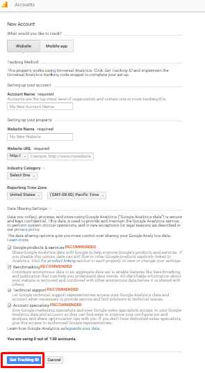 Click on get tracking id of google analytics